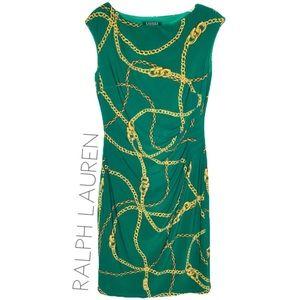 Ralph Lauren green chain print midi dress 4 S EUC